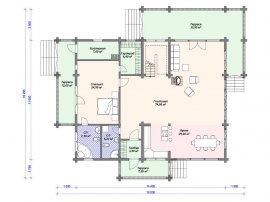 Схема первого этажа проекта дома из клееного бруса
