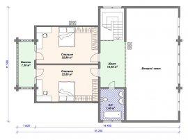 Схема второго этажа проекта дома из клееного бруса