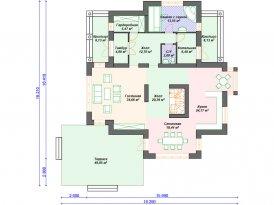 План первого этажа проекта кирпичного дома из пеноблоков под строительство в Москве и Ярославле