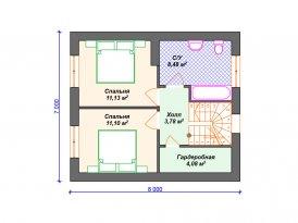 План второго этажа проекта дома из кирпича под строительство в Москве и Ярославле