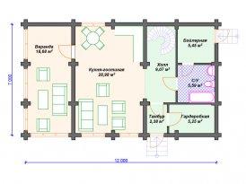 План первого этажа проекта дома из оцилиндрованного бревна под строительство в Ярославле и Москве