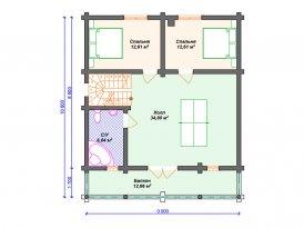 План второго этажа проекта дома из оцилиндрованного бревна под строительство в Москве и Ярославле
