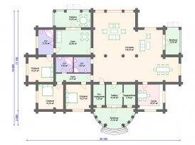 План проекта дома из оцилиндрованного бревна под строительство в Ярославле и Москве