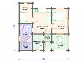 План проекта гостевого дома с баней из клееного бруса для строительства в Ярославле и Москве