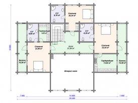 План второго этажа проекта дома из клееного бруса для строительства в Москве и Ярославле