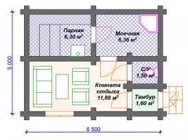 План проекта бани из бруса под строительство в Москве и Ярославле