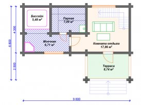 План первого этажа бани из клееного бруса под строительство в Ярославле и Москве