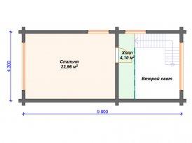План второго этажа бани из клееного бруса под строительство в Ярославле и Москве