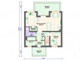 План первого этажа проекта дома из кирпича под строительство в Ярославле и Москве