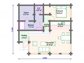 План первого этажа проекта дома из клееного бруса для строительства в Ярославле и Москве