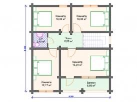 План второго этажа проекта дома из клееного бруса под строительство в Москве и Ярославле