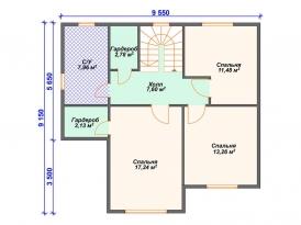 План второго этажа проекта каркасного дома под строительство в Москве и Ярославле
