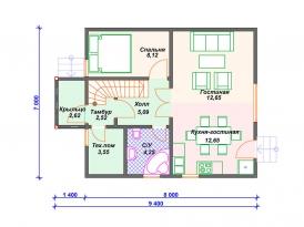 План первого этажа проекта каркасного дома под строительство в Ярославле и Москве