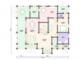 План первого этажа проекта дома из оцилиндрованного бревна под строительство в Москве и Ярославле