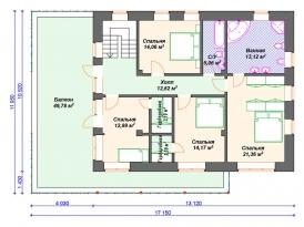 План второго этажа проекта кирпичного дома из пеноблоков под строительство в Москве и Ярославле