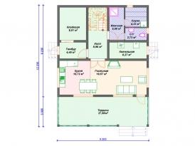 План первого этажа проекта каркасного дома под строительство в Москве и Ярославле