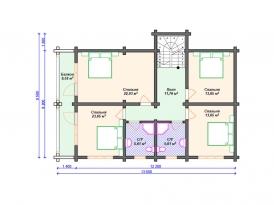 План второго этажа проекта дома из клееного бруса для строительства в Ярославле и Москве