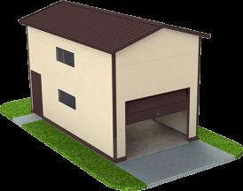 Двухэтажный гараж из сэндвич панелей на одну машину