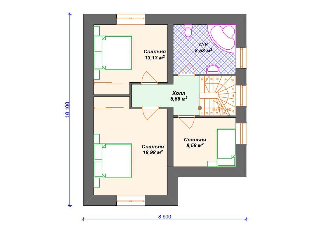 проекты полутораэтажных домов из пеноблоков