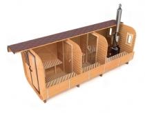 Квадратная баня-бочка 6 метров в разрезе