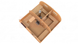 Овальная баня 4х4 метра в разрезе